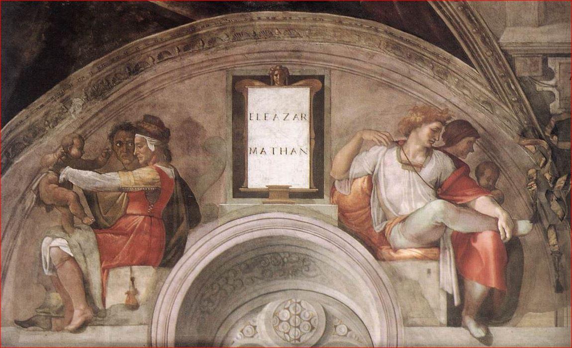 Michelangelo Buonarroti: Lunetta con Eleazar e Mattan, intorno al 1508, dimensioni 340 x 650 cm., Cappella Sistina