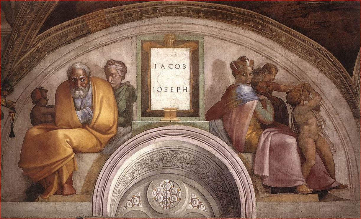 Michelangelo Buonarroti: Lunetta con Giacobbe e Giuseppe, intorno al 1508, dimensioni 340 x 650 cm., Cappella Sistina