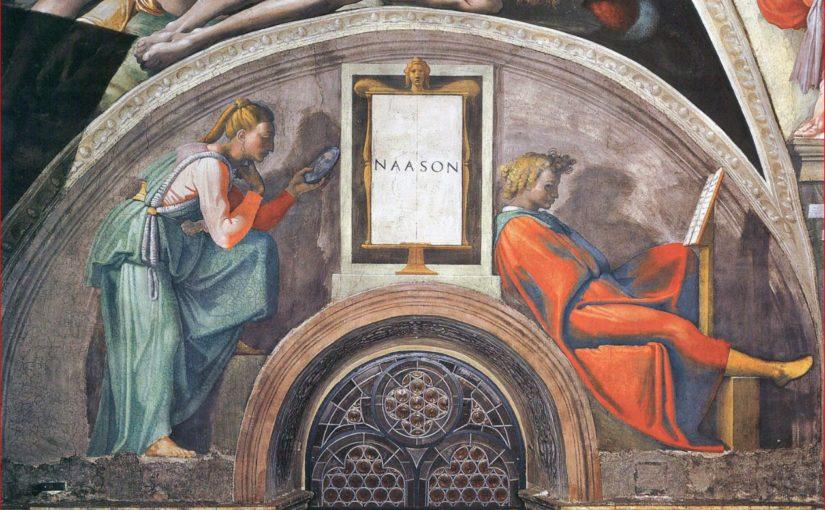 La lunetta con Naasson nella Cappella Sistina