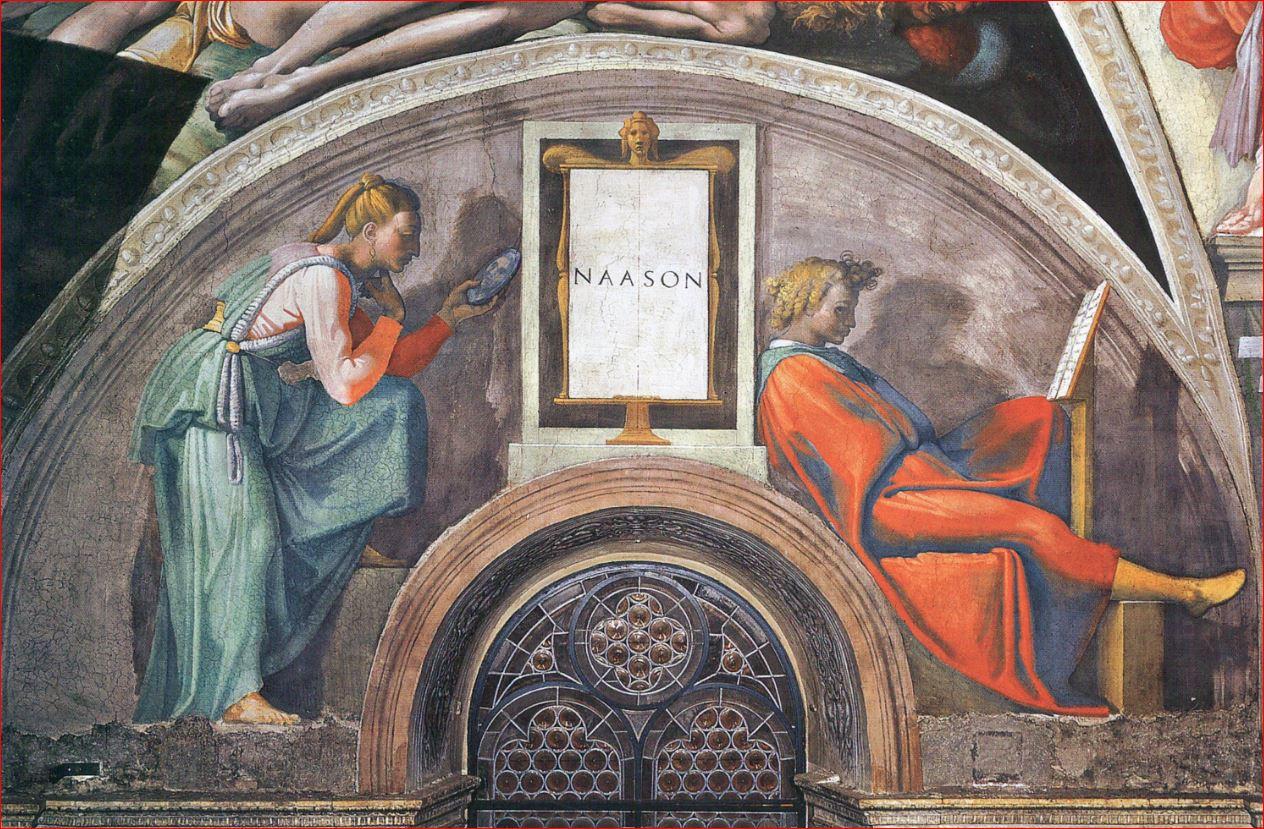 Michelangelo Buonarroti: Lunetta con Naasson, intorno al 1511-12, dimensioni 340 x 650 cm., Cappella Sistina, Città del Vaticano.