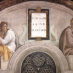 Michelangelo Buonarroti: Lunetta con ZorobabeleAbiud ed Eliacim, intorno al 1508-11, dimensioni 340 x 650 cm., Cappella Sistina, Città del Vaticano.