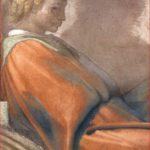 Michelangelo Buonarroti: Lunetta con Naasson, intorno al 1511-12, particolare dell'uomo., Cappella Sistina, Città del Vaticano.