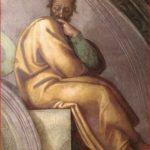 Michelangelo Buonarroti: particolare destro della lunetta con Azor e Sadoc.