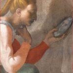 Michelangelo Buonarroti: Lunetta con Naasson, particolare della donna, Cappella Sistina