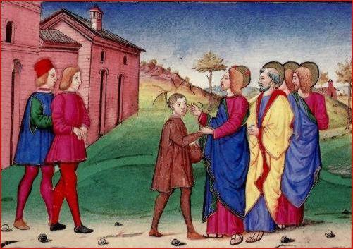 """Cristoforo De Predis: La guarigione del sordomuto dalle """"Storie di San Gioachino, Sant'Anna, …"""", Torino, Biblioteca Reale"""