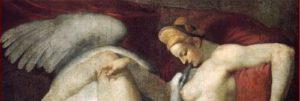 Michelangelo: Copia attribuita a Rosso Fiorentino di Leda e il cigno, anno 1530, tecnica a tempera.