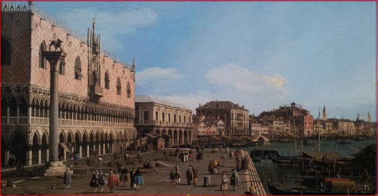 Canaletto: Riva degli Schiavoni verso est (1745 circa), Edimburgo, Scottish National Gallery. Dimensione della tela: (40,1 X 59,7 cm.)