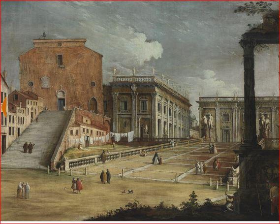 Antonio Canal: Santa Maria Aracoeli e il Campidoglio (1720 circa), Budapest, Szépmuvesti Museum.