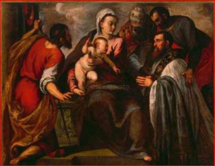 Palma il Giovane. Il parroco Da Ponte davanti alla Madonna col Bambino con i Santi Giacomo, Silvestro e Marco (1581) Venezia, chiesa di San Giacomo dall'Orio.