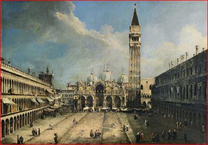 Canaletto: Piazza San Marco (1723 circa) Madrid, Museo Tyssen-Bornemisza. Dimensioni della tela: (141 X 204 cm.)