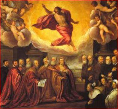 Palma il Giovane. Cristo in Gloria benedicente, la famiglia dogale e i Procuratori di San Marco (1585)