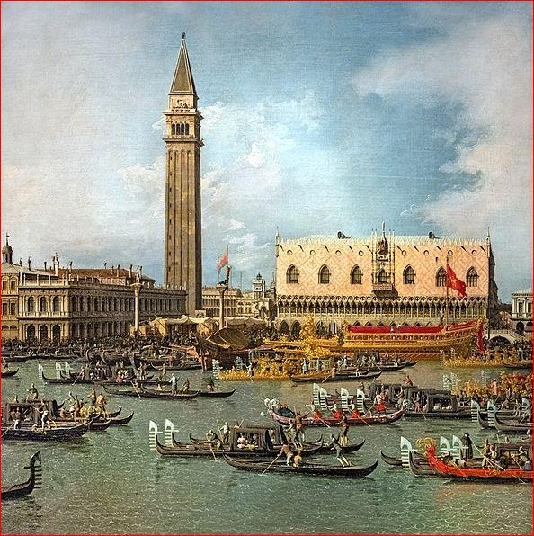 Antonio Canal : Il ritorno del bucintoro al molo (1734), Windsor Castle, Royal Collection. Dimensioni della tela: (77 X 126 cm.)