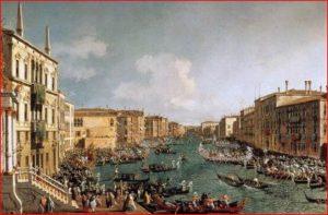 Antonio Canal: La Regata sul Canal Grande (1732), Londra, Collezioni Reali. Dimensioni della tela: (77 X 126 cm.)