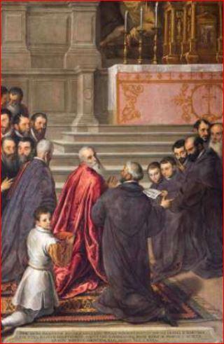 Palma il Giovane. Pasquale Cicogna riceve in chiesa l'annuncio della sua elezione al dogado (1586)
