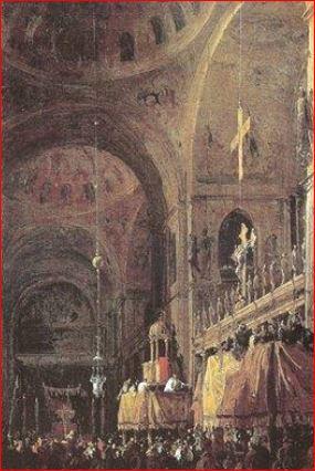Canaletto: Interno di San Marco di notte (1733), Londra, Collezioni Reali. Dimensioni della tela: (33 X 22 cm.)