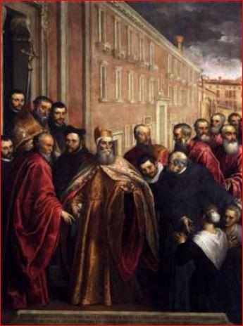 Giacomo Negretti. Pasquale Cicogna in veste dogale visita la chiesa dei Crociferi (1568- 87) Venezia, Oratorio dell'ospedale dei Crociferi. Dimensioni della tela: (369 X 262cm.)