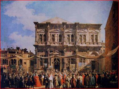 Canaletto: La festa di San Rocco (1735), Londra, National Gallery. Dimensioni della tela 147 X 199 cm.