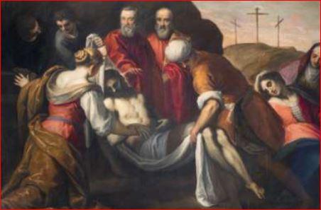 Palma il Giovane. Cristo deposto dalla croce viene portato nel sepolcro (1590 circa) Venezia, Oratorio dei Crociferi. Dimensioni della tela: (292 X 203 cm.)