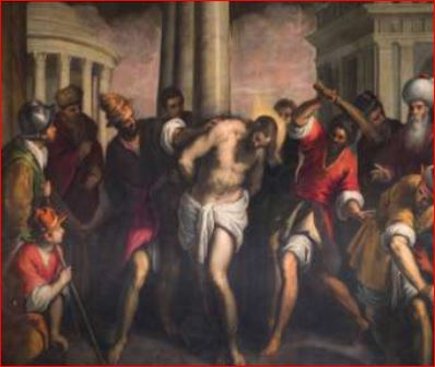 Giacomo Negretti. Flagellazione di Cristo (1591 -92), Venezia, Oratorio dei Crociferi. Dimensioni della tela: (345 X 320 cm.)