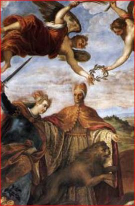 Palma il Giovane. Allegoria della vittoria sulla Lega di Cambrai (1590 circa) Venezia, Sala del Senato.