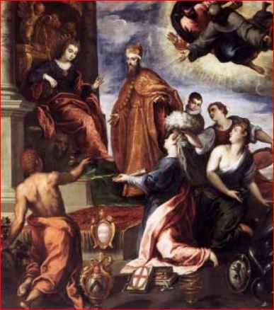Palma il Giovane. Il Doge Venier presenta le città sottomesse a Venezia (1595) Venezia, Palazzo Ducale, Sala del Senato.