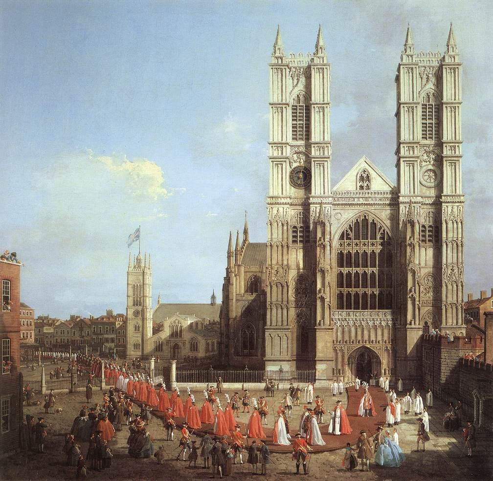 Canaletto: L'Abbazia di Westminster con la processione (1749), Londra, Abbazia di Westminster, Warwick. Dimensioni della tela 99 X 101 cm.