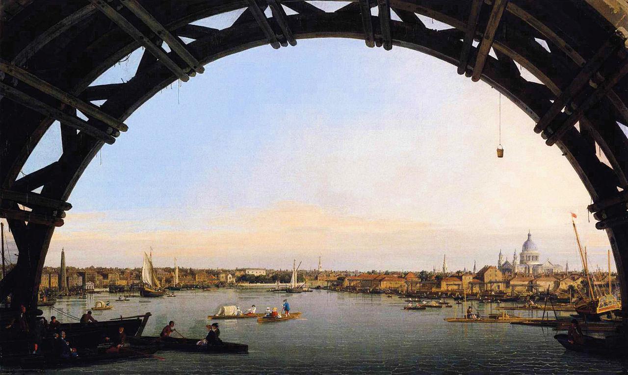 Antonio Canal: Veduta del Tamigi e della city da un arco del ponte di Westminster (1746 – 47), Collezione privata. Dimensioni della tela 57 X 95 cm.