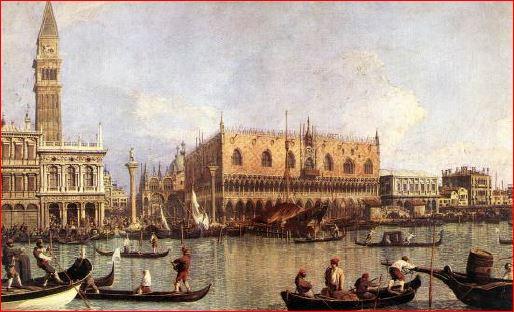 Antonio Canal: Palazzo Ducale e Piazza San Marco (1755 circa), Firenze, Galleria degli Uffizi. Dimensioni della tela 51 X 83 cm.