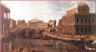 Canaletto: Capriccio con edifici Palladiani (1756 – 59), Parma, Galleria nazionale. Dimensioni della tela 58 X 82 cm.
