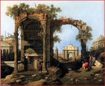 Antonio Canal: Capriccio con rovine ed edifici classici (1756), Milano, Museo Poldi Pezzoli. Dimensioni della tela 91 X 124 cm.