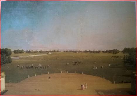 Canaletto: Veduta del parco di Badminton dalla loro residenza.(1748 – 49), Badminton House, Collezione del Duca di Beaufort. Dimensioni della tela 86 X 122 cm.