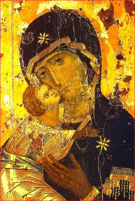 Autore sconosciuto: La Theotokos di Vladimir – conosciuta anche come Madre di Dio della tenerezza, o Vergine di Vladimir; Galleria Tret'jakov di Mosca