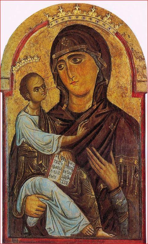 Berlinghiero Berlinghieri: Madonna di sotto gli organi, anno 1200-1220, dimensioni 93 x 55 cm, Duomo di Pisa.