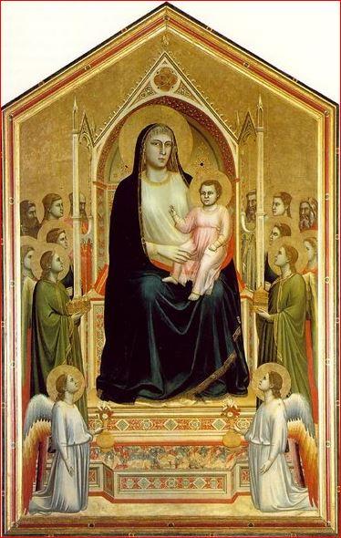 Giotto: Maestà di Ognissanti, intorno al 1310, tecnica a tempera su tavola, 325×204 cm. Uffizi, Firenze