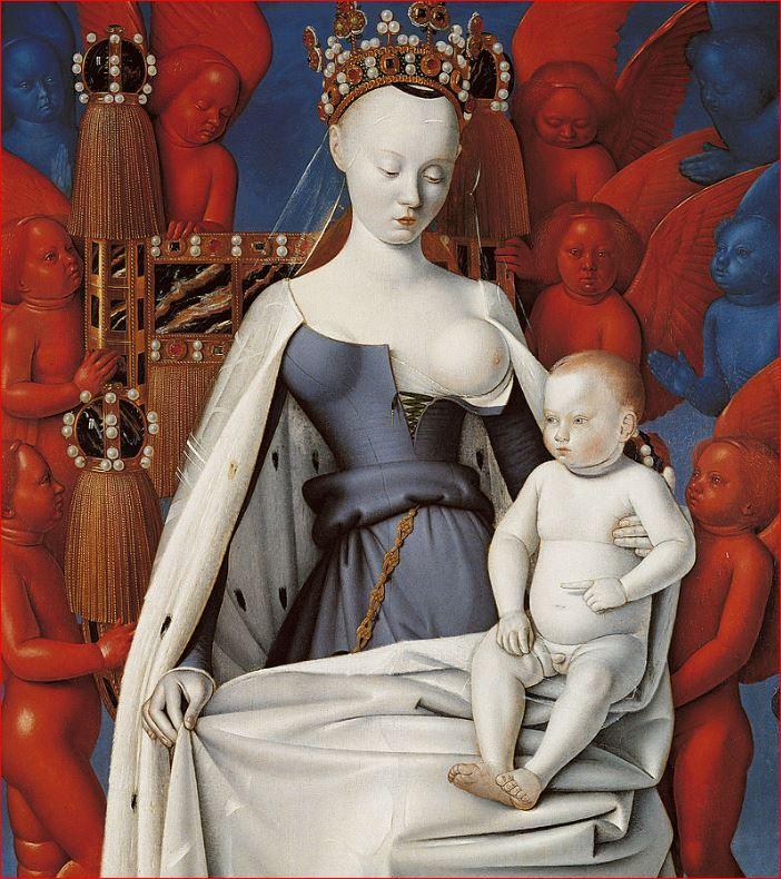 Jean Fouquet: Madonna del latte, 91,8 x 83,3, anno 1450-55 Gemäldegalerie di Berlino