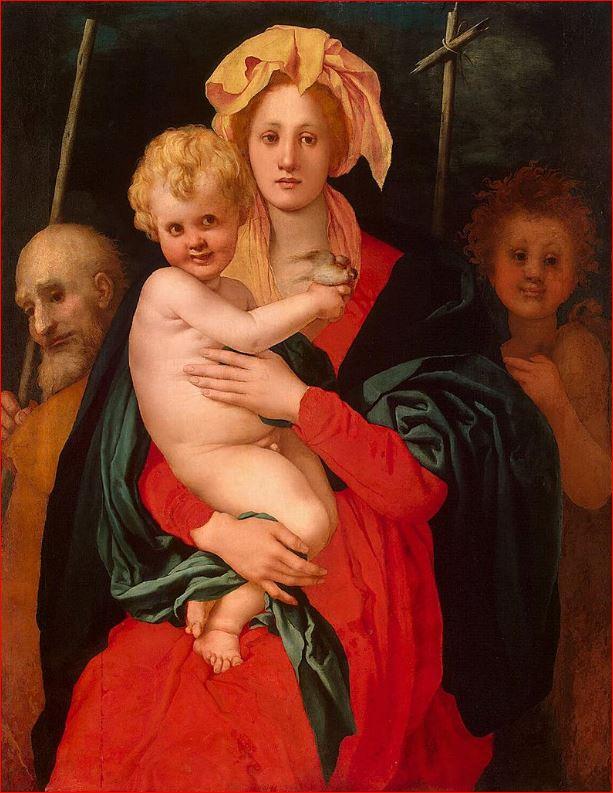 Jacopo Carrucci detto il Pontormo: Sacra famiglia con San Giovannino, cm. 120 x 98,5, Ermitage, Leningrado