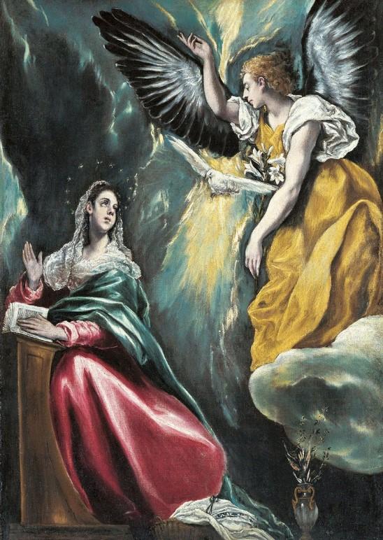 El Greco: L'Annunciazione, tecnica a olio su tela, 114 x 67 cm, anno 1597-1600, Lugano, Collezione Thyssen.