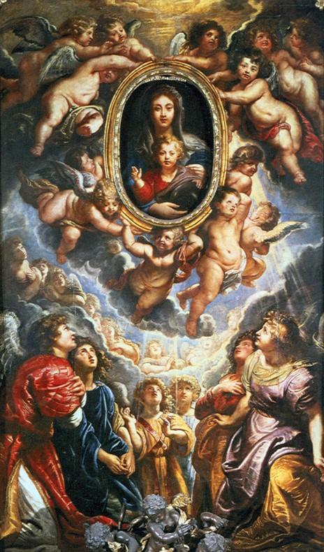 Rubens: Madonna della Vallicella, olio su tavola di ardesia, dimensioni 425 × 250 cm, anno 1606-1608, chiesa di Santa Maria della Vallicella, Roma