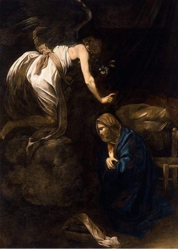 Caravaggio: annunciazione, anno 1609 circa, olio su tela 285 x 205, Nancy (Francia) nel Musée des Beaux-Arts