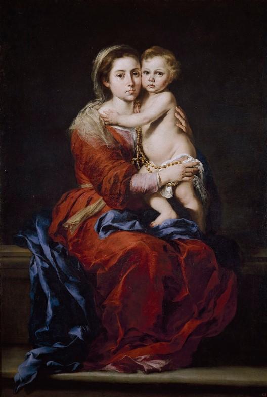 Bartolomé Esteban Murillo: La Madonna col Bambino, o Madonna (o Vergine) del Rosario, olio su tela, 166 x 112 cm., Museo del Prado, Madrid.