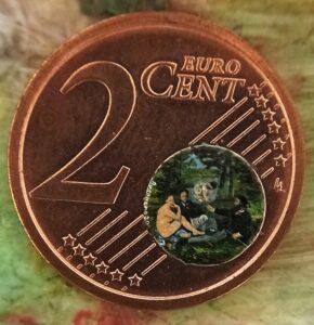 Stefano Busonero: Colazione sull'erba di Manet realizzata nel mappamondo della moneta da due centesimi di euro