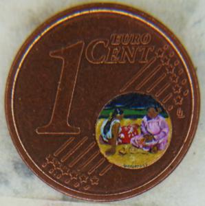 Busonero . due tahitiane dipinte dentro un centesimo